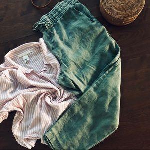 H&M's Green Linen Joggers